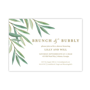 Watercolor Tree Green Branch Invitation