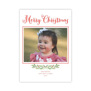 Merry Christmas Sprig and Berry Holiday Card