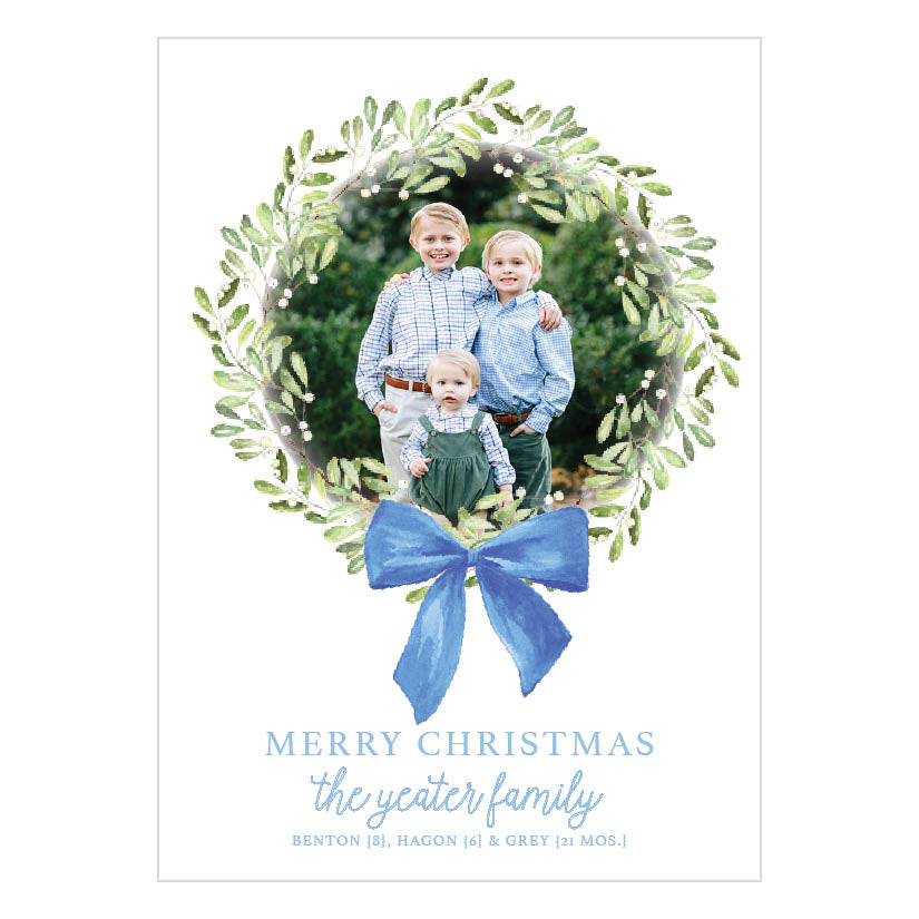 Boxwood Wreath Blue Bow Holiday Card