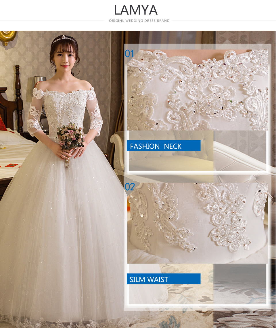 2298c99cbb5 Simple Wedding Dress With Lace Sleeves - Gomes Weine AG