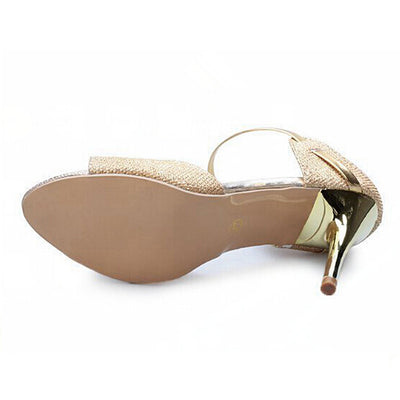 f07a81483e81c High heels sandals shoes for womenGold Silver Summer Ladies Sandals ...