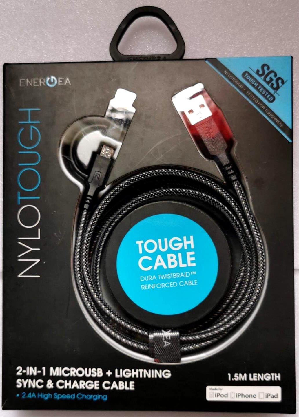 Energea NyloTouch 2-in-1 MICROUSB + LIGHTNING SYNC & CHARGE CABLE