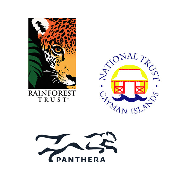 Charities we give to include Rainforest Trust, Cayman Islands Trust and Panthera.Org