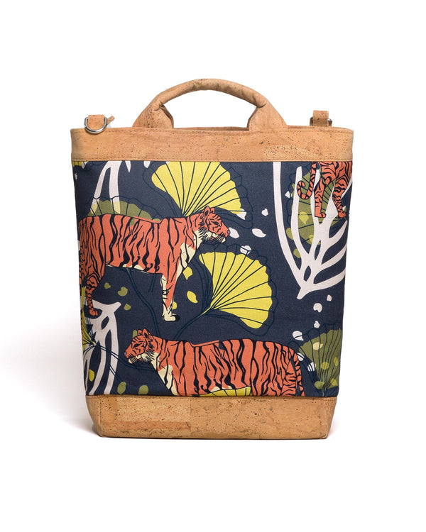 Convertible Tote Backpack - Bulong Orange Tiger Print - Navy / Yellow