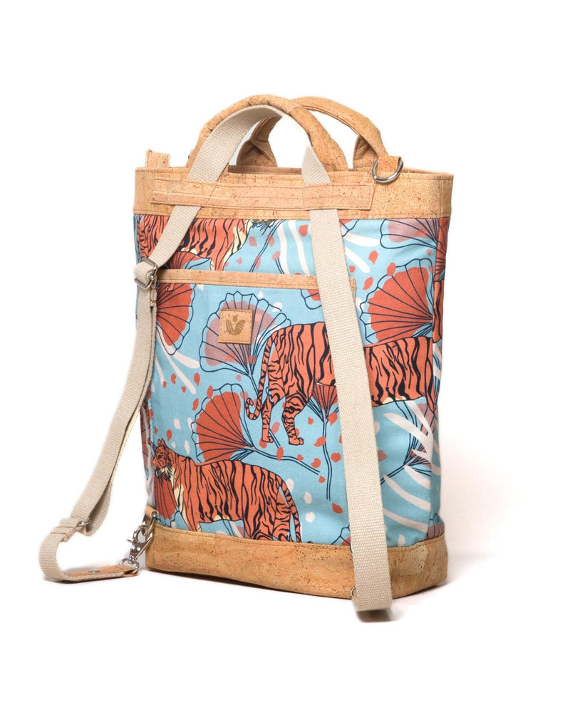 Convertible Tote Backpack - Bulong Orange Tiger Print - Light Blue / Orange - Vildare