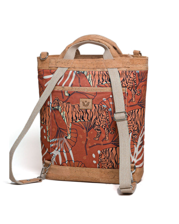 Convertible Tote Backpack - Bulong Orange Tiger Print - Orange / Orange - Vildare