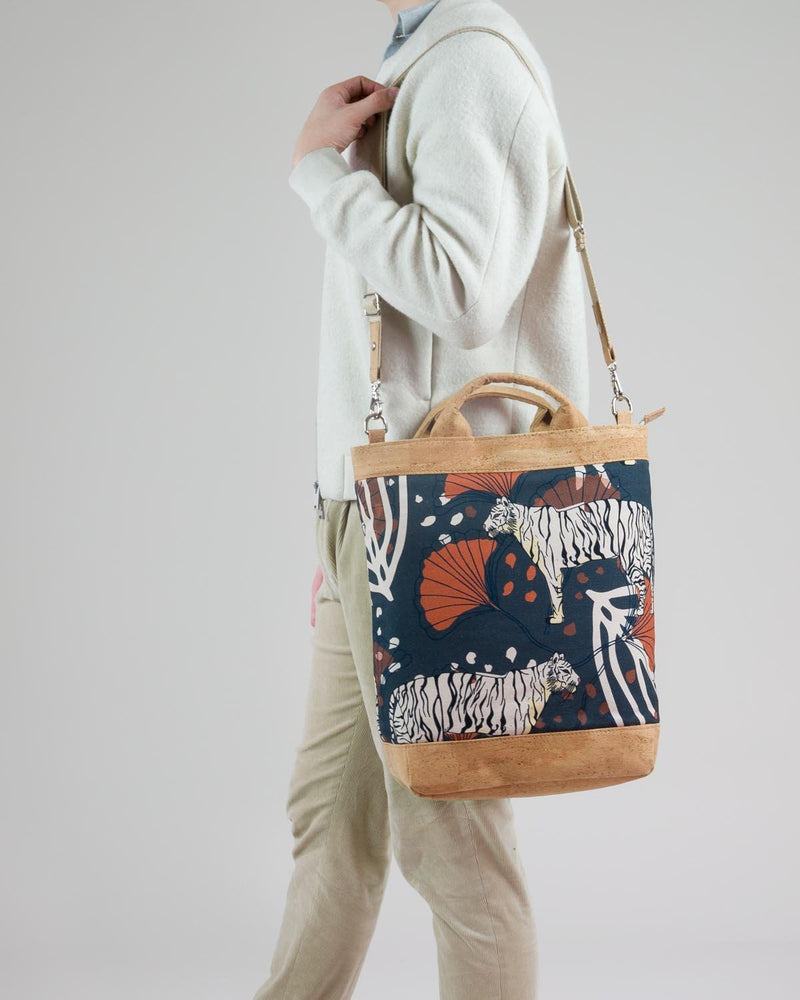 Convertible Tote Backpack - Bulong White Tiger Print - Navy / Orange - Vildare