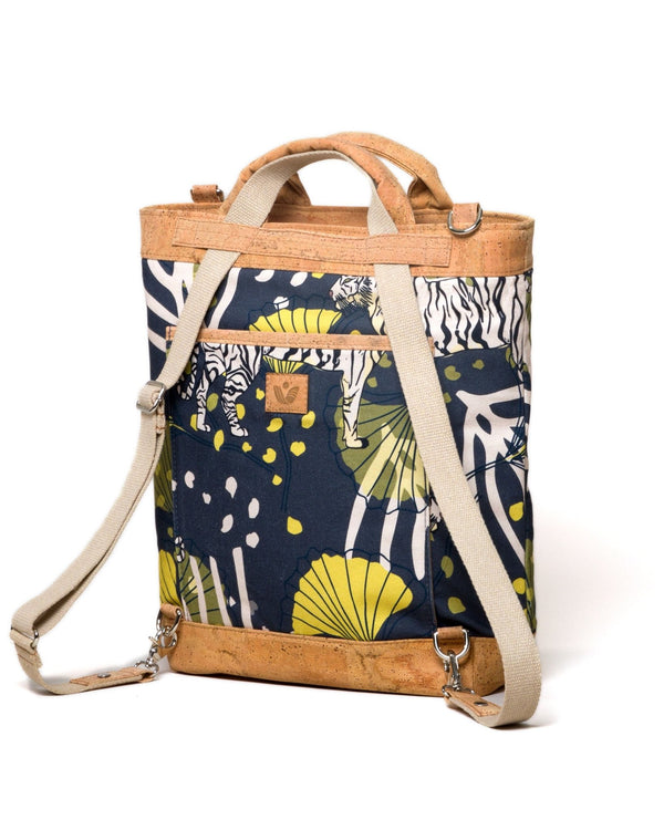 Convertible Tote Backpack - Bulong White Tiger Print - Navy / Yellow - Vildare