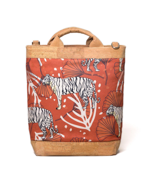 Convertible Tote Backpack - Bulong White Tiger Print - Orange / Orange - Vildare