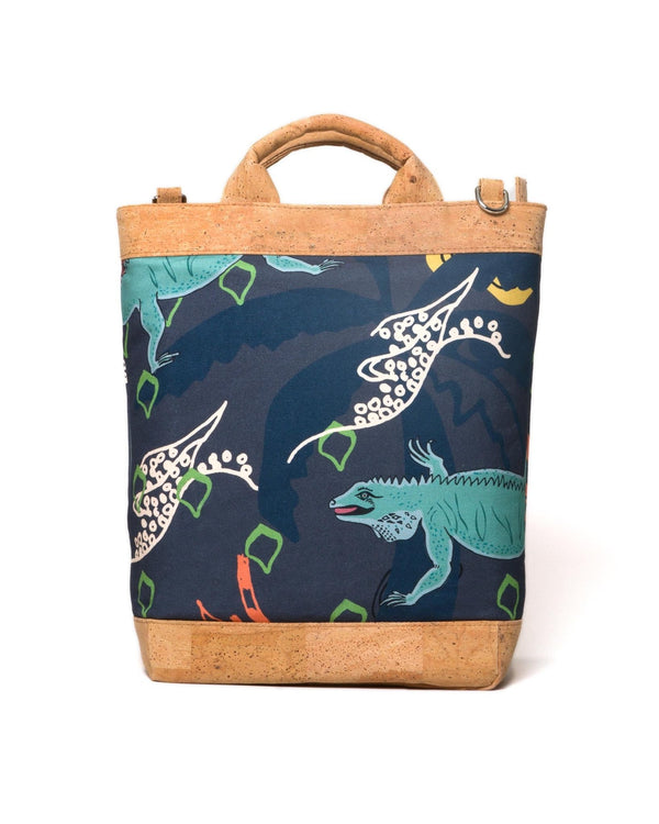 Convertible Tote Backpack - Cayman Colliers Print - Navy / Multi - Vildare