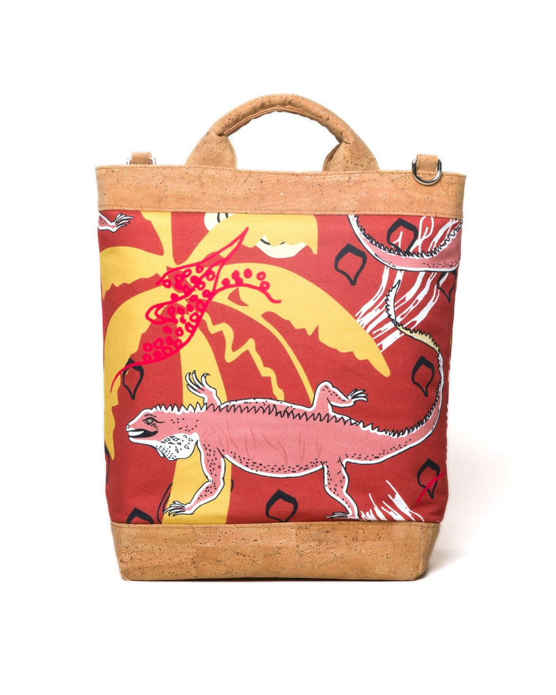 Convertible Tote Backpack - Cayman Colliers Print - Red / Yellow - Vildare
