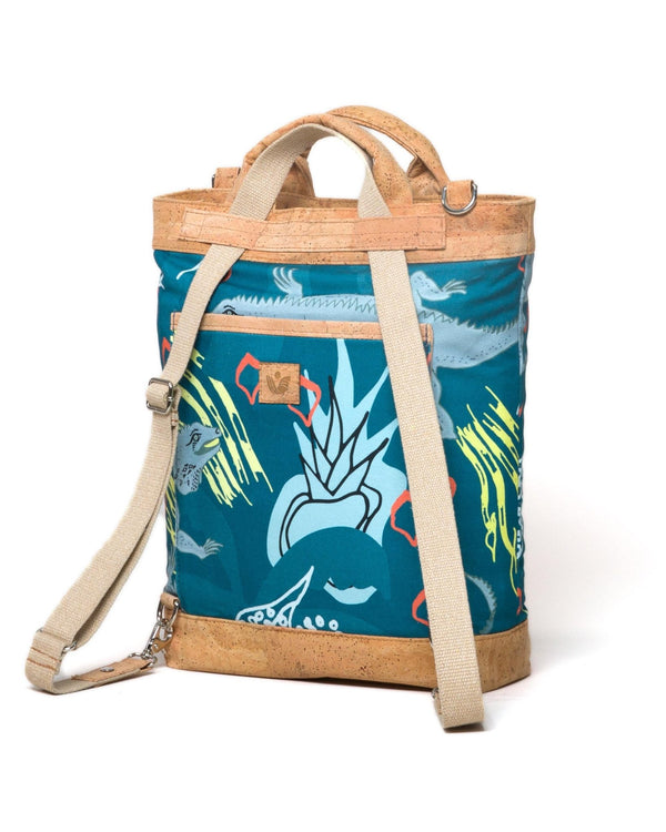 Convertible Tote Backpack - Cayman Colliers Print - Turquoise / Yellow - Vildare