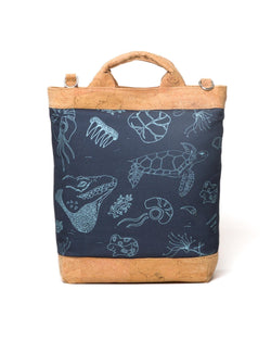 Convertible Tote Backpack - Cayman Etch Print - Navy / Light Blue - Vildare