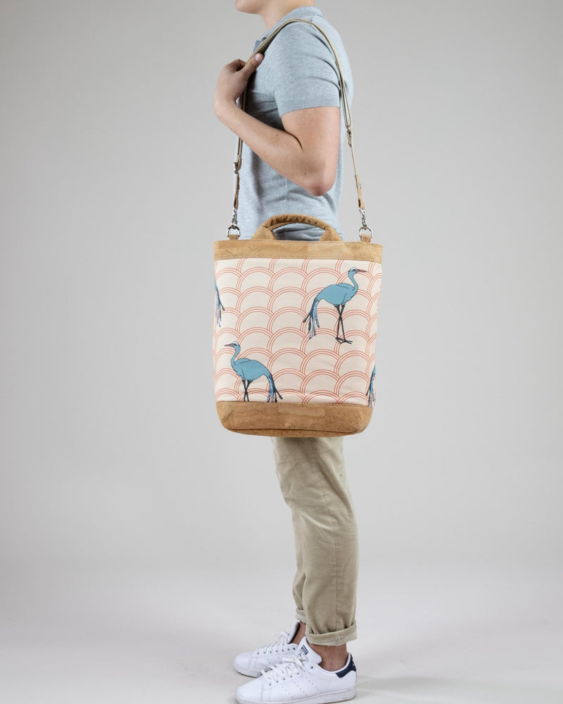 Convertible Tote Backpack - Circle Blue Crane Print - Cream / Orange - Vildare