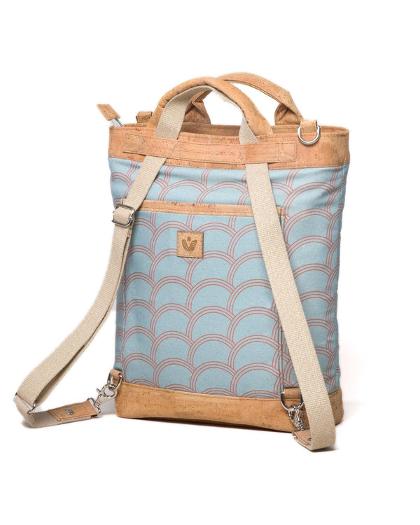 Convertible Tote Backpack - Circle Print - Light Blue / Orange - Vildare