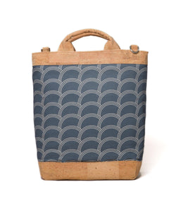Convertible Tote Backpack - Circle Print - Navy / Cream - Vildare