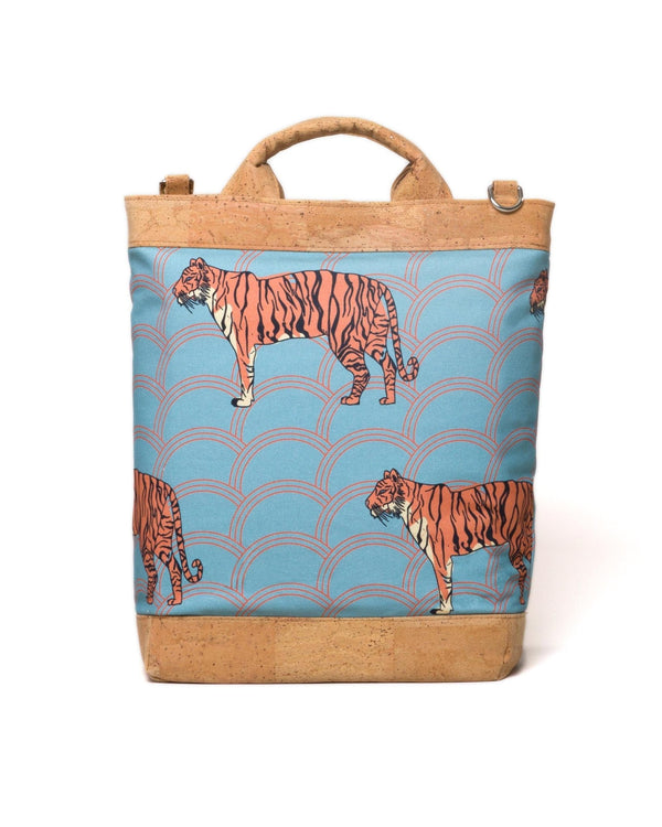 Convertible Tote Backpack - Circle Tiger Print - Light Blue / Orange - Vildare