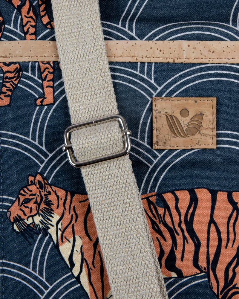 Convertible Tote Backpack - Circle Tiger Print - Navy / Cream - Vildare