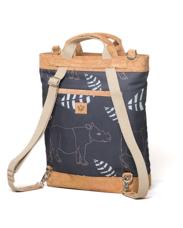 Convertible Tote Backpack - Sumatra Rhino Print - Brown / Cream - Vildare