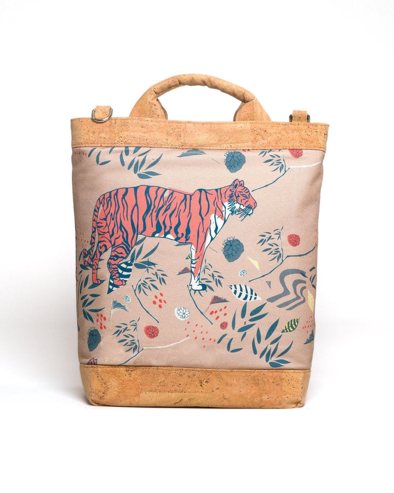 Convertible Tote Backpack - Sumatra Wild Print - Tan / Orange - Vildare