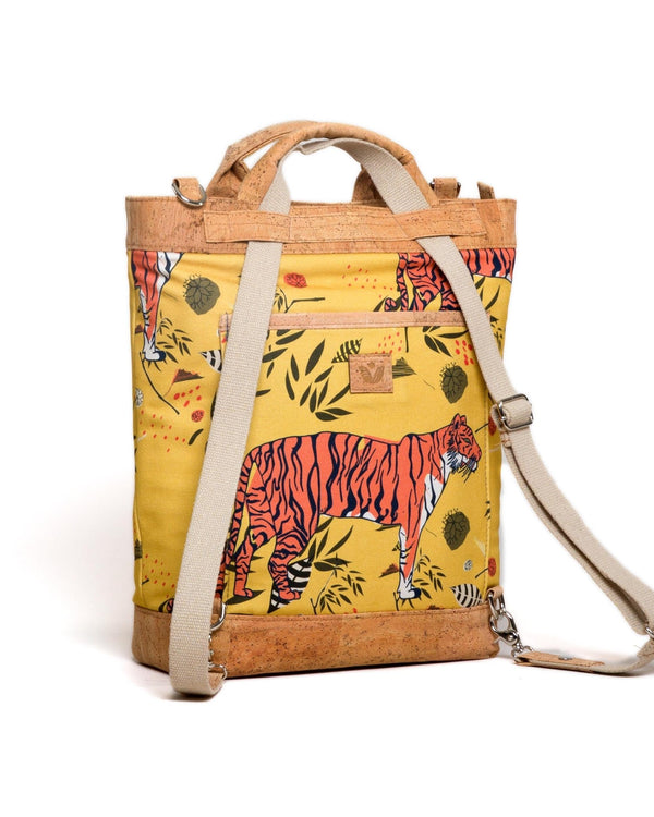 Convertible Tote Backpack - Sumatra Wild Print - Yellow / Orange - Vildare
