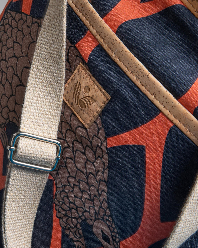 Convertible Tote Backpack - Trellis Pangolin Print - Navy / Orange - Vildare