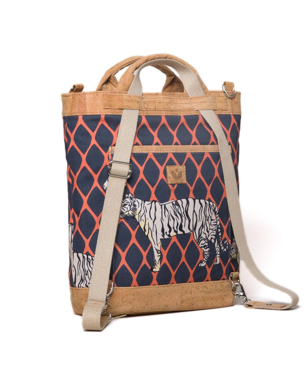 Convertible Tote Backpack - Trellis Tiger Print - Navy / Orange - Vildare