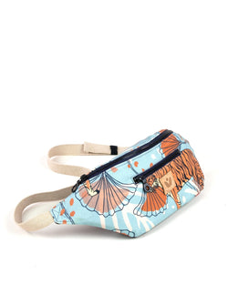 Crossbody Waist Bag - Bulong Orange Tiger Print - Light Blue / Orange - Vildare