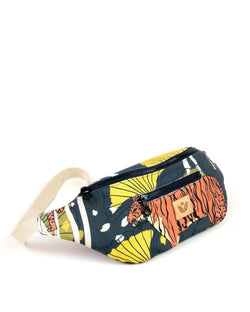 Crossbody Waist Bag - Bulong Orange Tiger Print - Navy / Yellow - Vildare