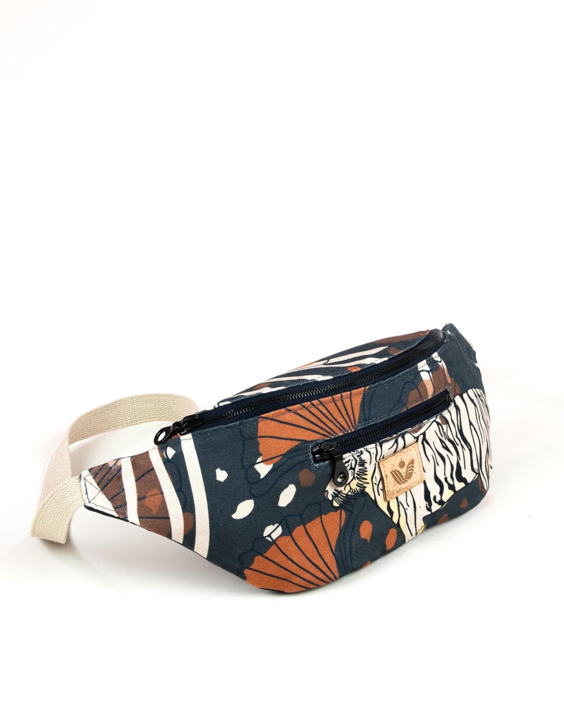 Crossbody Waist Bag - Bulong White Tiger Print - Navy / Orange - Vildare