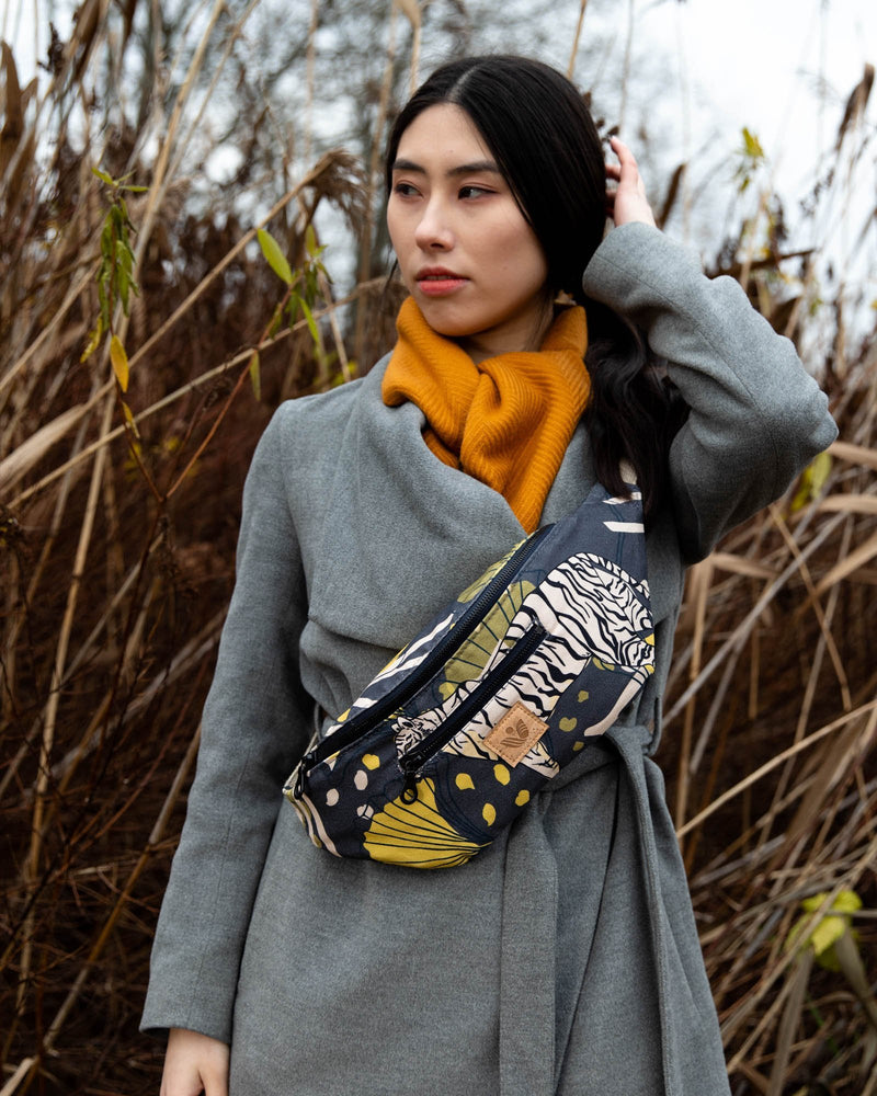 Crossbody Waist Bag - Bulong White Tiger Print - Navy / Yellow - Vildare
