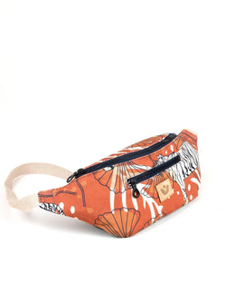 Crossbody Waist Bag - Bulong White Tiger Print - Orange / Orange - Vildare