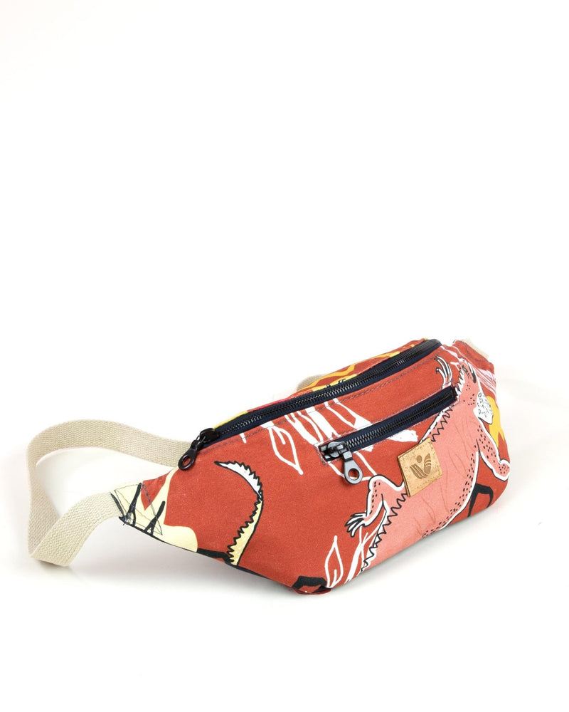 Crossbody Waist Bag - Cayman Colliers Print - Red / Yellow - Vildare