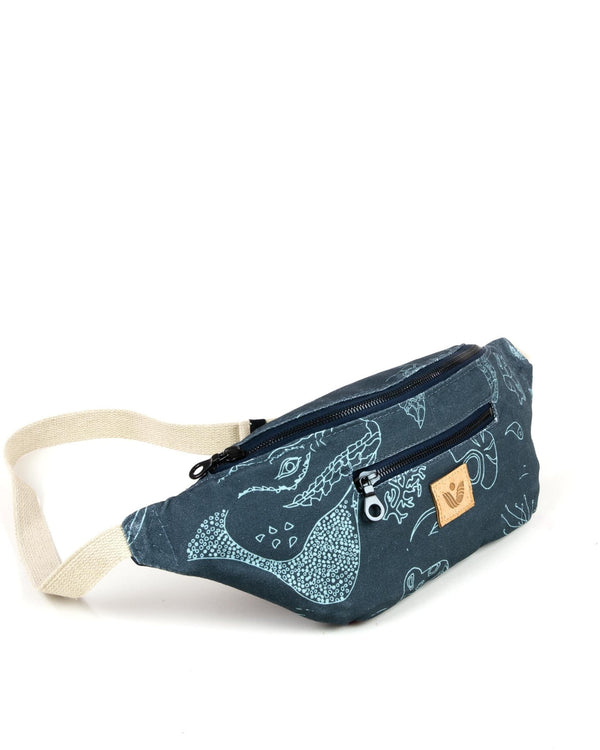 Crossbody Waist Bag - Cayman Etch Print - Navy - Vildare
