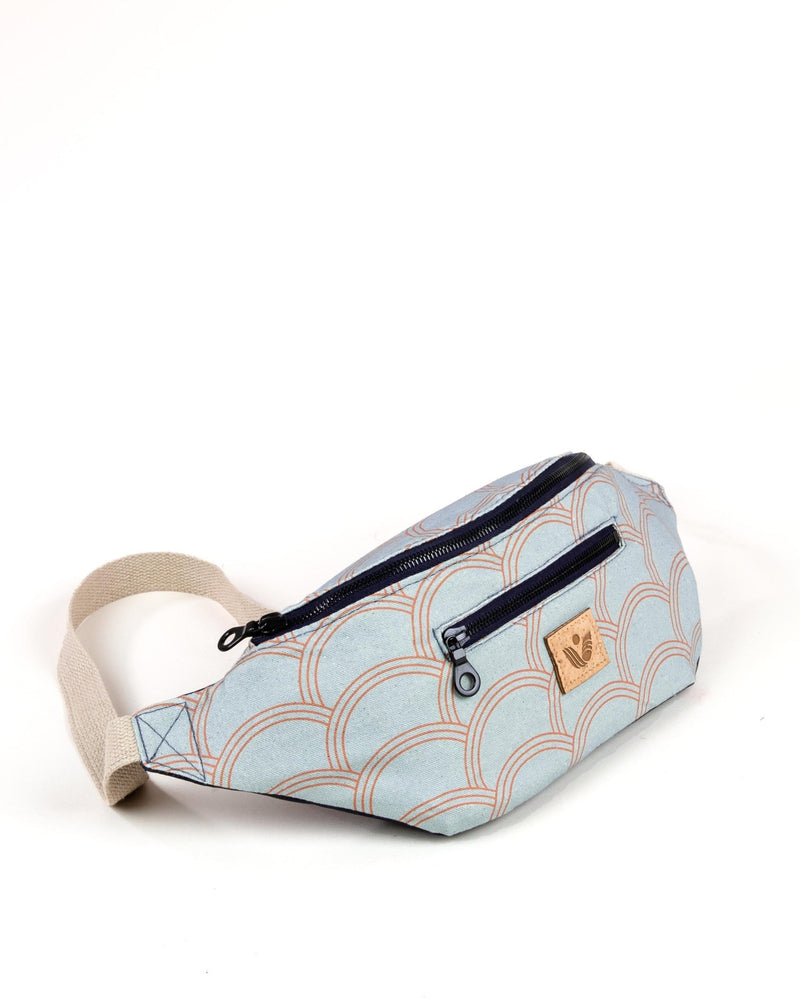 Crossbody Waist Bag - Circle Print - Light Blue / Orange - Vintage Style - Vildare