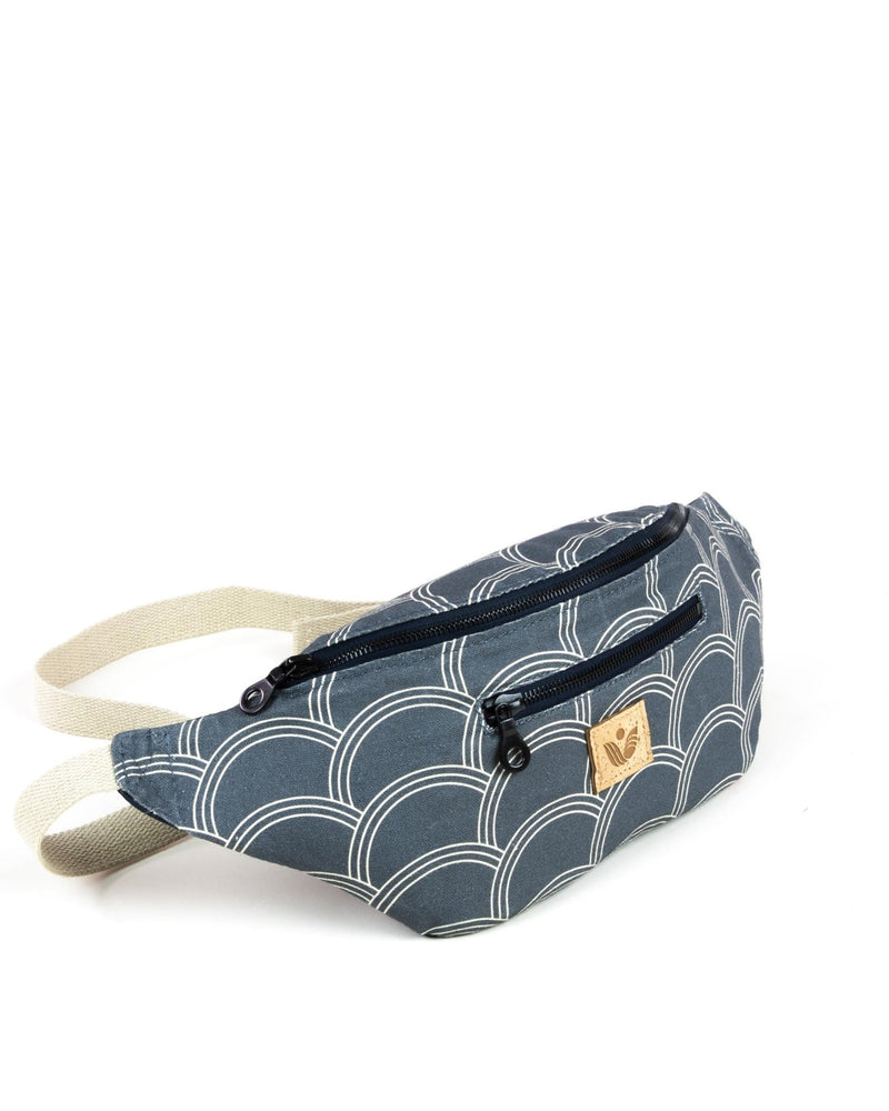 Crossbody Waist Bag - Circle Print - Navy / Cream - Vintage Style - Vildare