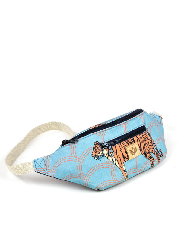 Crossbody Waist Bag - Circle Tiger Print - Light Blue / Orange - Vildare