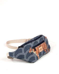 Crossbody Waist Bag - Circle Tiger Print - Navy / Orange - Vildare