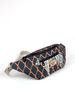Crossbody Waist Bag - Trellis Tiger Print - Navy / Orange - Vildare