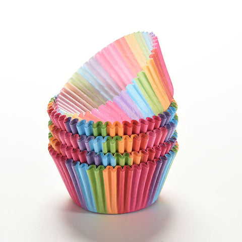 100Pc Rainbow Color Paper Cupcake Liners - rollingpindepot.com