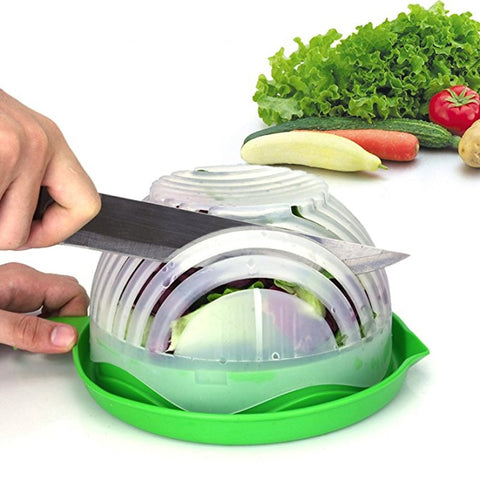 Salad Cutter Bowl: 60 Second Salad Maker, Easy And Fast Vegetable Chopper And Slicer For Veggies, Lettuce And Fruit, Cutting Board, Strainer And Dicer All-In-1 - rollingpindepot.com