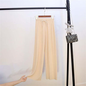 Ice Silk Wide Leg Pants Women - bginvention