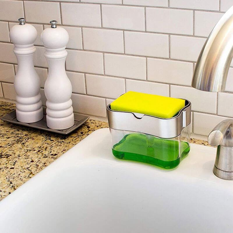 2-in-1 Sponge Rack Soap Dispenser - bginvention