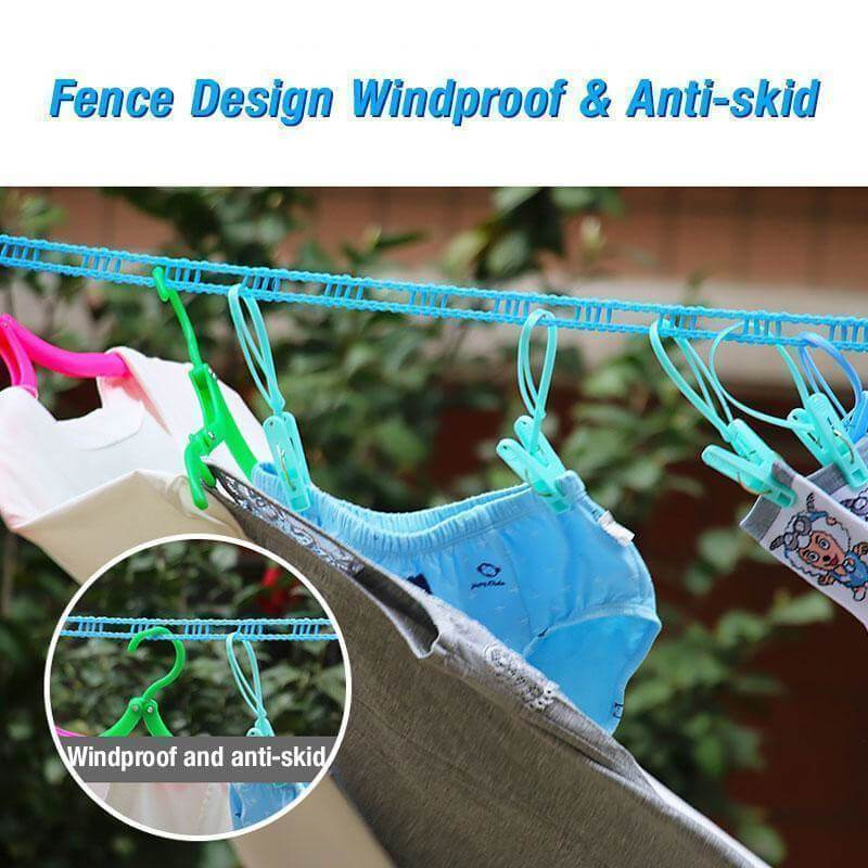 Windproof Non-Slip Clothes Line - Portable Retractable Clothesline, for Outdoor Indoor Home Travel - bginvention