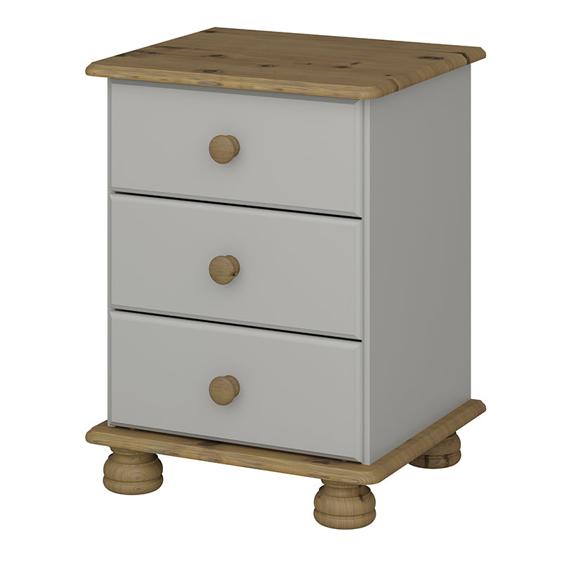 Carnation Grey 3 Drw Bedside