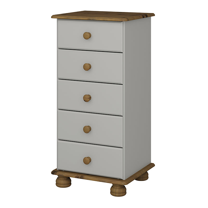 Carnation Cream & Pine 5 Drawer Narrow Chest