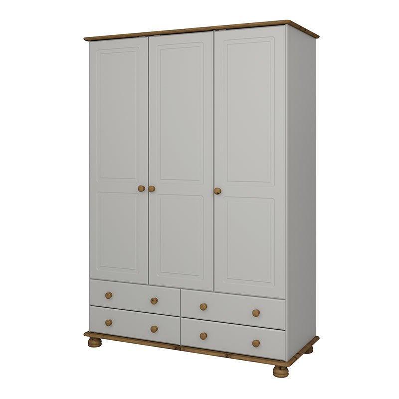 Carnation Cream & Pine 3 Dr 4 Drw Wardrobe