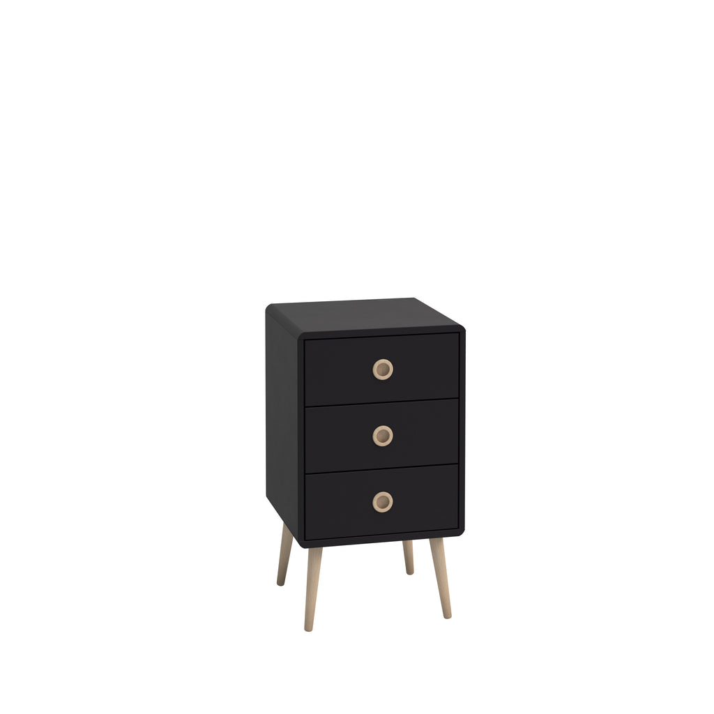 Gerbera Black 3 Drawer Chest