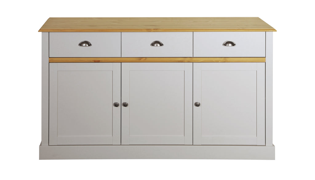Tulip Living Grey & Pine 3 Door 3 Door Sideboard