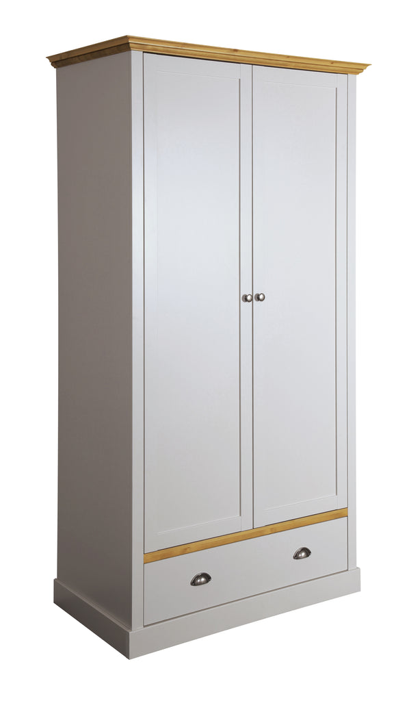 Tulip Grey & Pine 2 Door 1Drawer Wardrobe